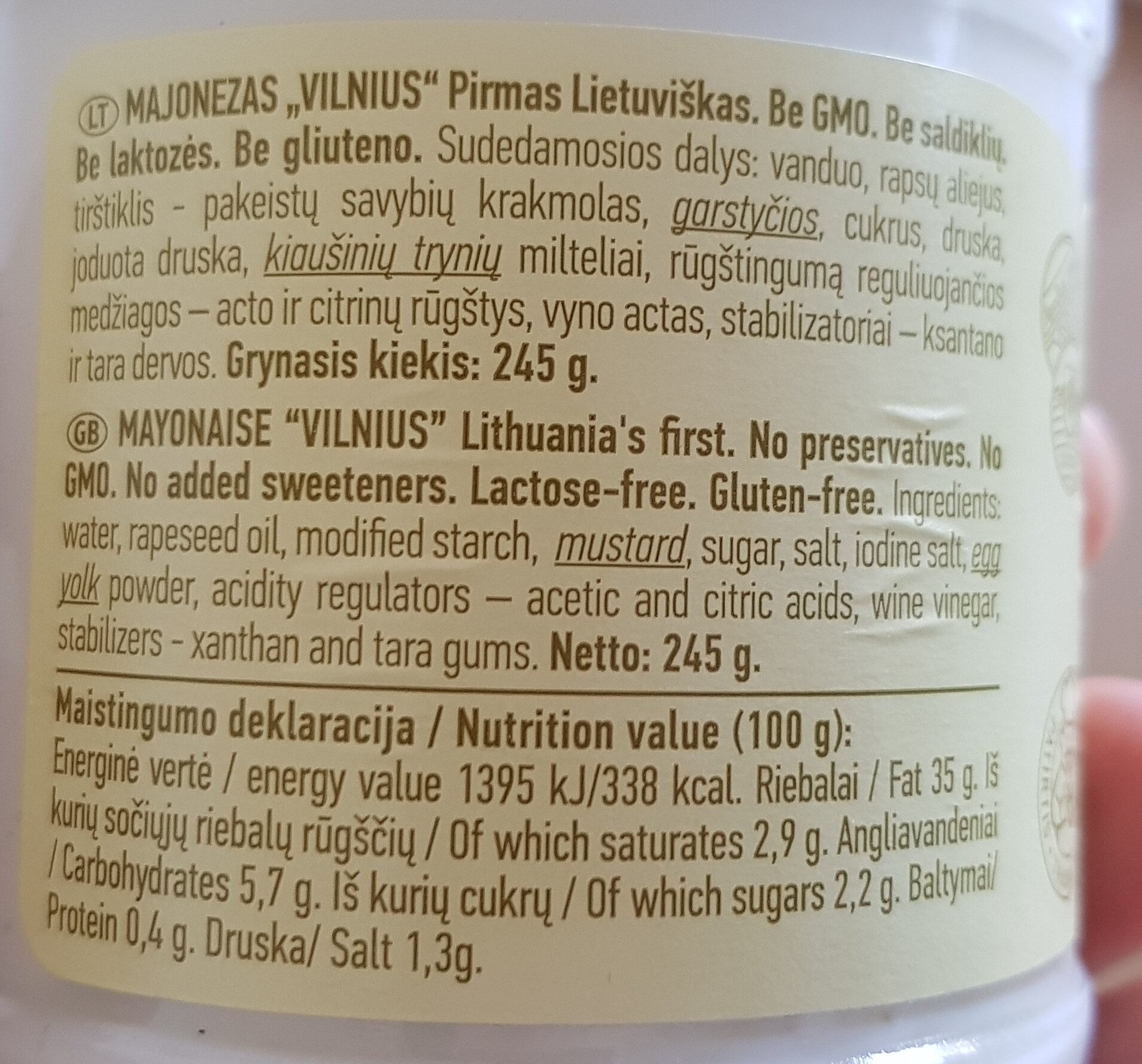 Majonezas Vilnius - Nutrition facts