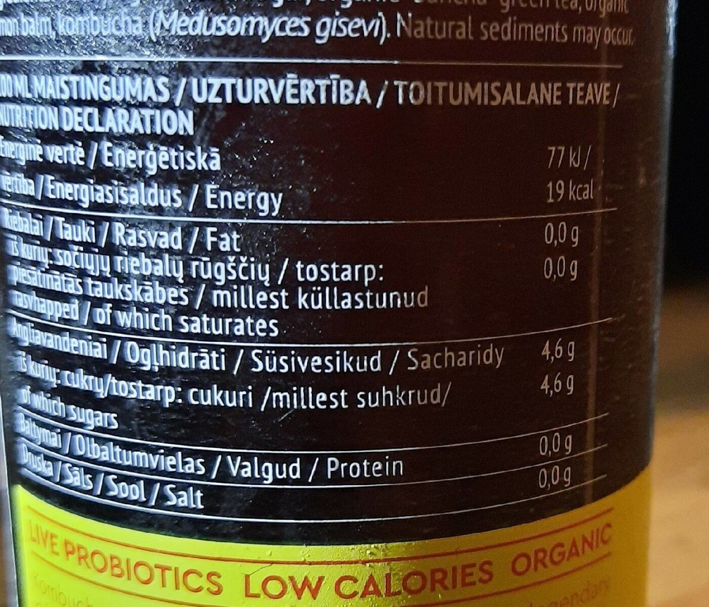 Kombucha sun365 - Nutrition facts - fr