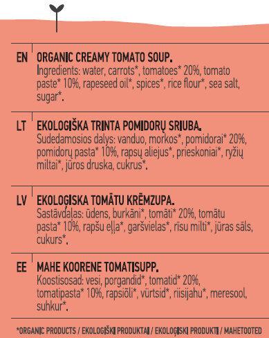 Tomato Soup - Inhaltsstoffe - en