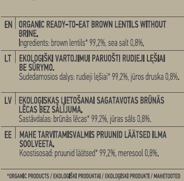 Ready-To-Eat Brown Lentils - Ingredients - en