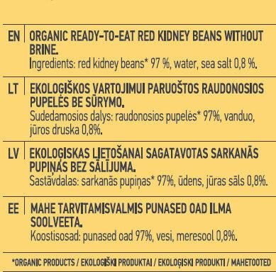 Ready-To-Eat Red Kidney Beans - Ingredients - en