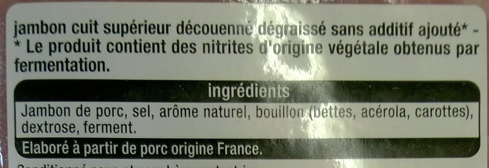Jambon supérieur sans couenne sans additifs ajoutés - Ingrédients