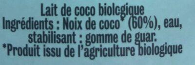 Lait de coco Cocomi Cuisine - Ingrédients - fr