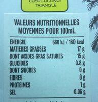 Lait de coco Cocomi Cuisine - Informations nutritionnelles - fr