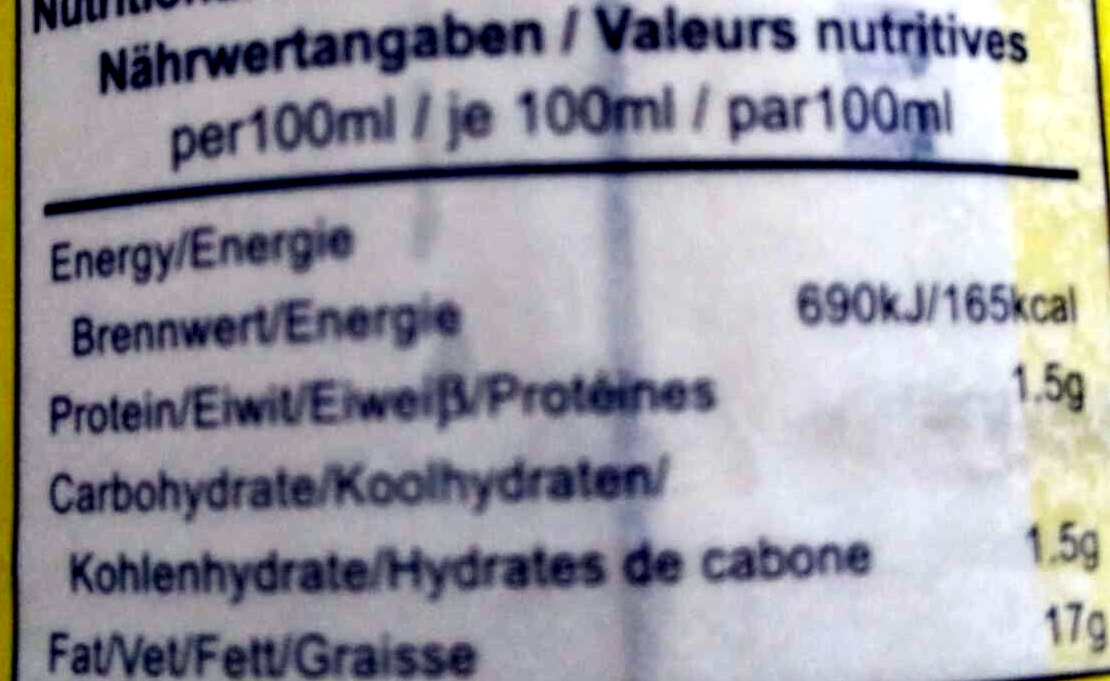 Coconut milk - Nutrition facts - en