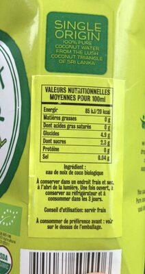 Agua de coco ecológica - Ingrédients - fr