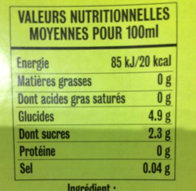 Agua de coco ecológica - Informations nutritionnelles - fr