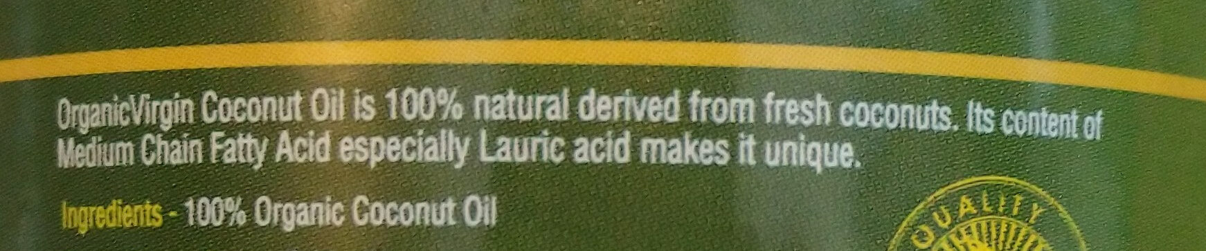 organic Virgin coconut oil - Ingrediënten - it