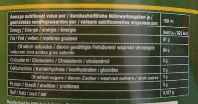 organic Virgin coconut oil - Voedingswaarden - it