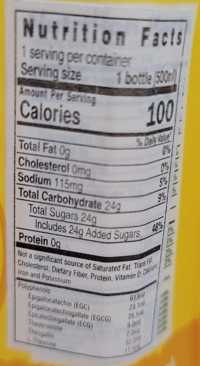C2 Lemon tea - Nutrition facts - en