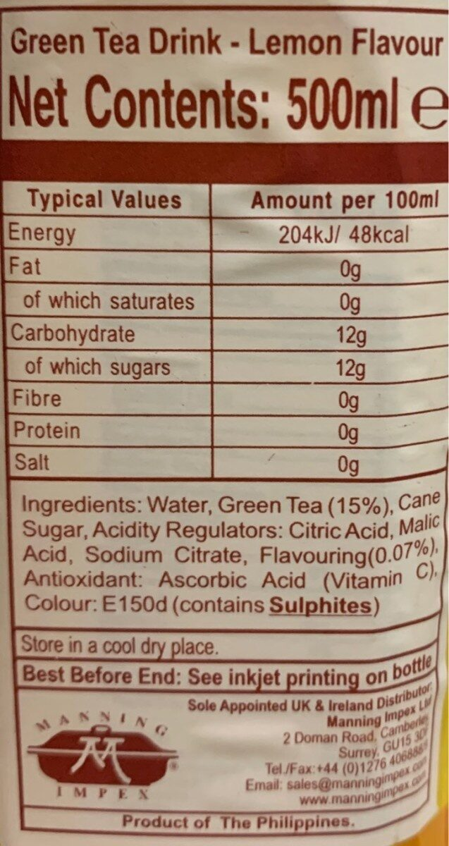 C2 Lemon tea - Nutrition facts