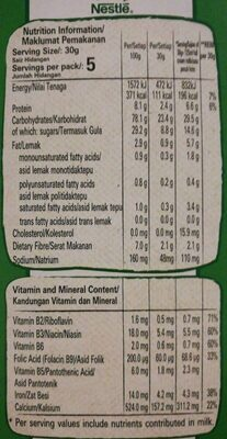 Nestle Cereal Milo - Valori nutrizionali - fr