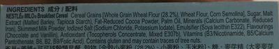 Nestle Milo Breakfast Cereal Chocolate Malt Flavoured 25 G. - Ingrediënten - en