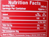 Coca-Cola - Nutrition facts