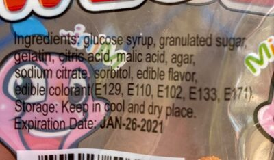 Worms gummy - Nutrition facts - fr