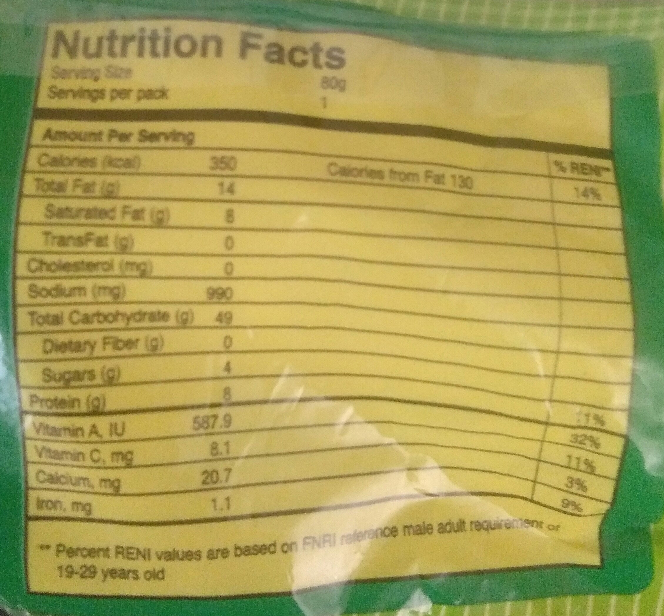 Lucky Me instant pancit canton chili-mansi - Nutrition facts