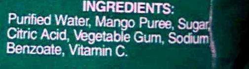 Mango Nectar - Ingredients