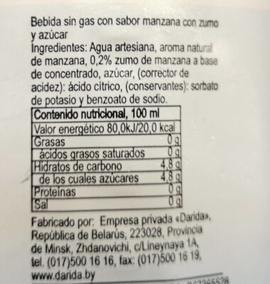 Agua mineral natural con zumo de manzana - Nutrition facts