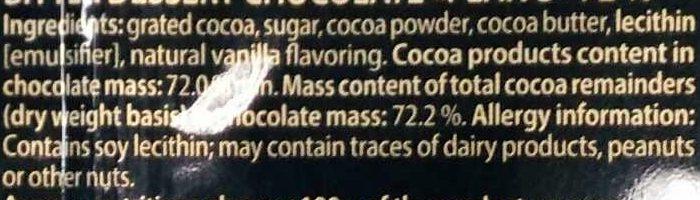Горький шоколад 72 % - Ingredients - en