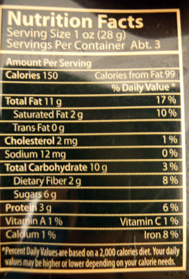 Горький шоколад 72 % - Nutrition facts - en