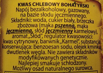 Kwas chlebowy Bohatyrski - Składniki - pl