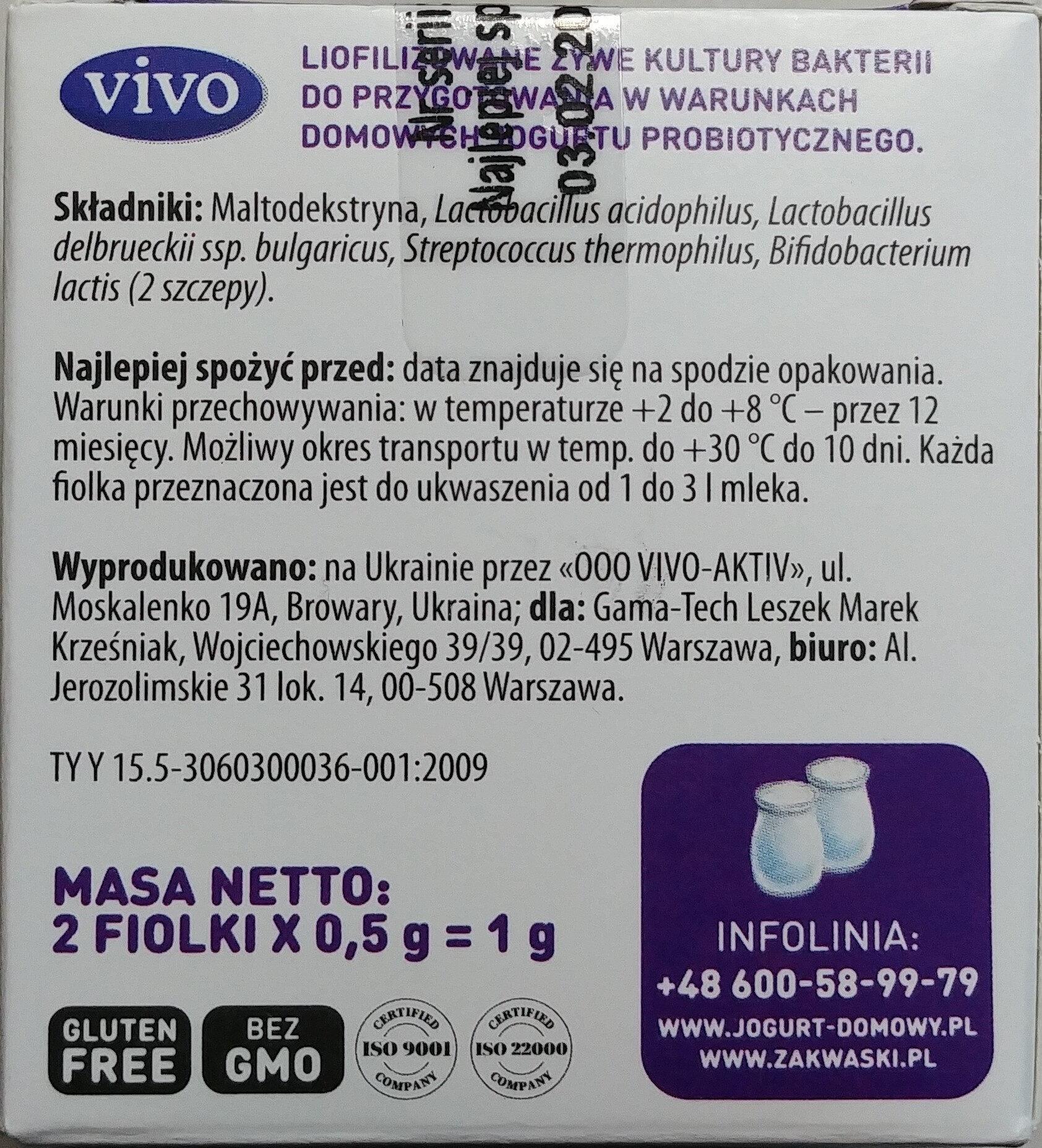 Liofilizowane żywe kultury bakterii do przygotowania w warunkach domowych jogurtu probiotycznego - Ingredients - pl