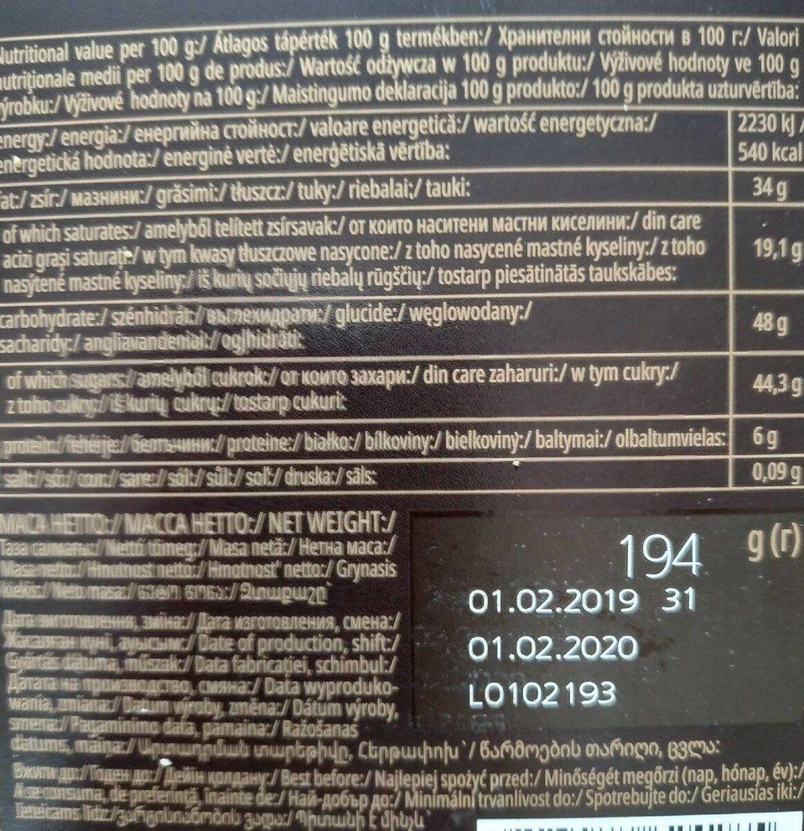 Chocolat - Хранителна информация - en