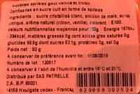 Sucette SnapChat - Informations nutritionnelles - fr