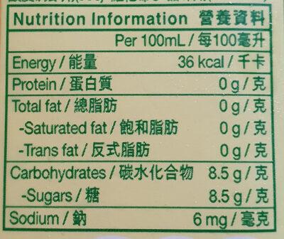 Lemon Tea - Informations nutritionnelles - en