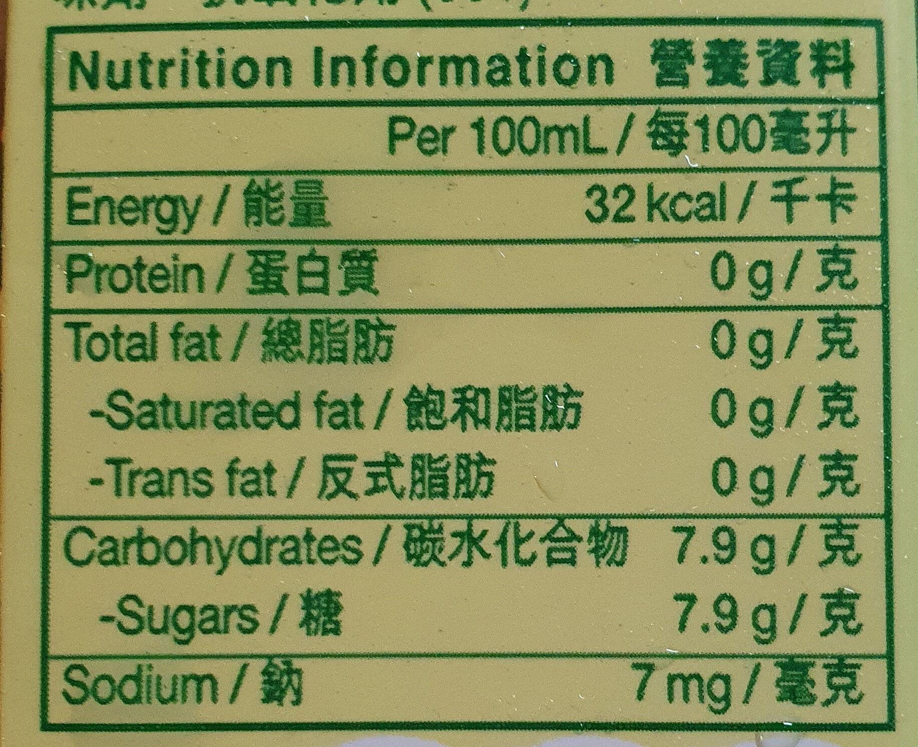 Chrysanthemum Tea - Informations nutritionnelles - en