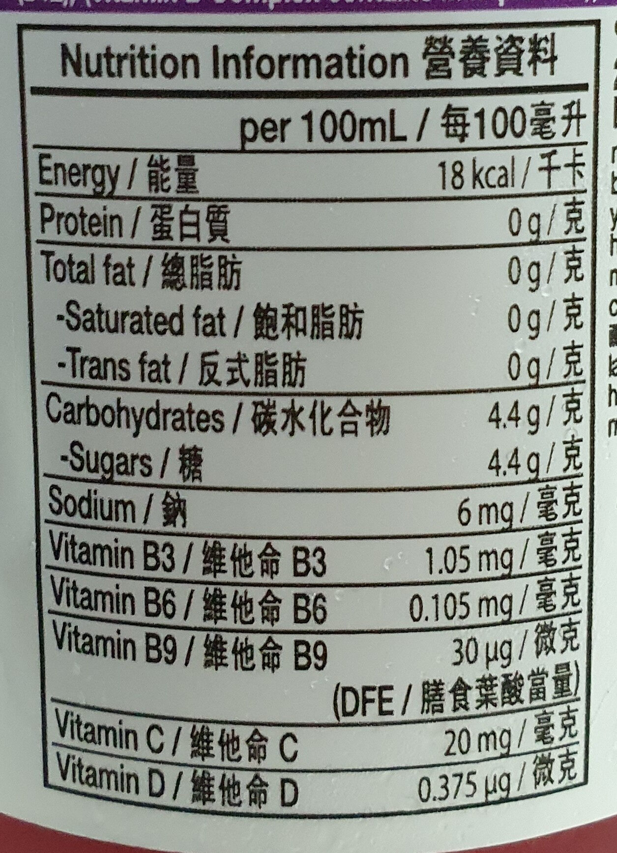 nutrient enhanced water beverage - Informations nutritionnelles - en