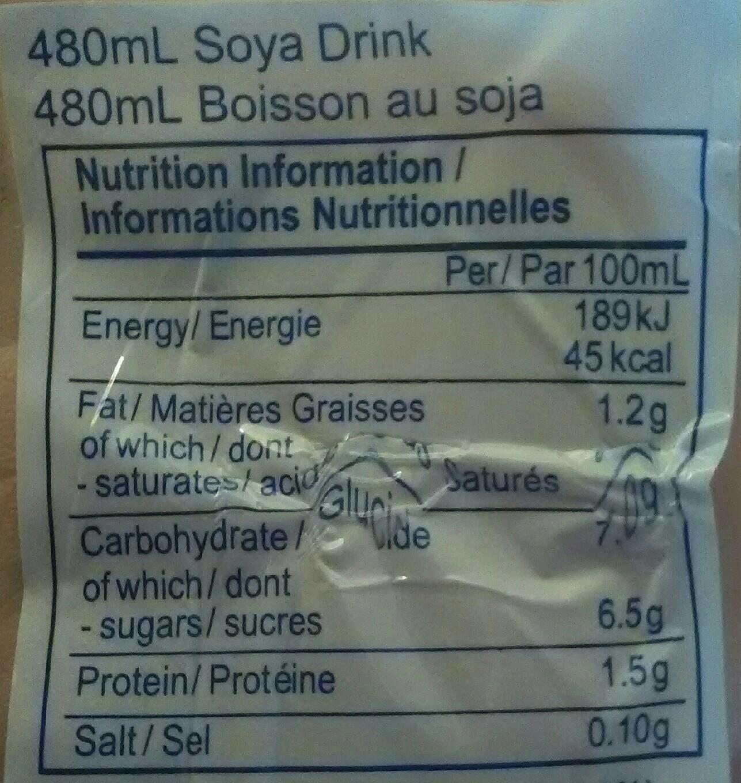 Vitasoy Soya Drink - Informations nutritionnelles