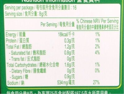 Fish dense soup - 营养成分 - fr