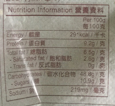 Raisin toast - Voedingswaarden - en
