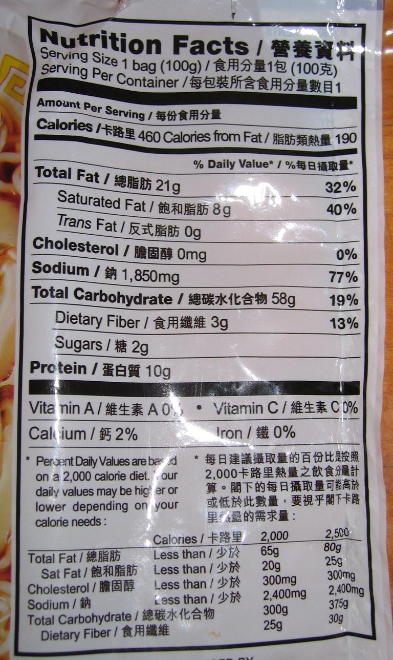 Instant noodle Five Spices Beef Flavour - Nutrition facts - en