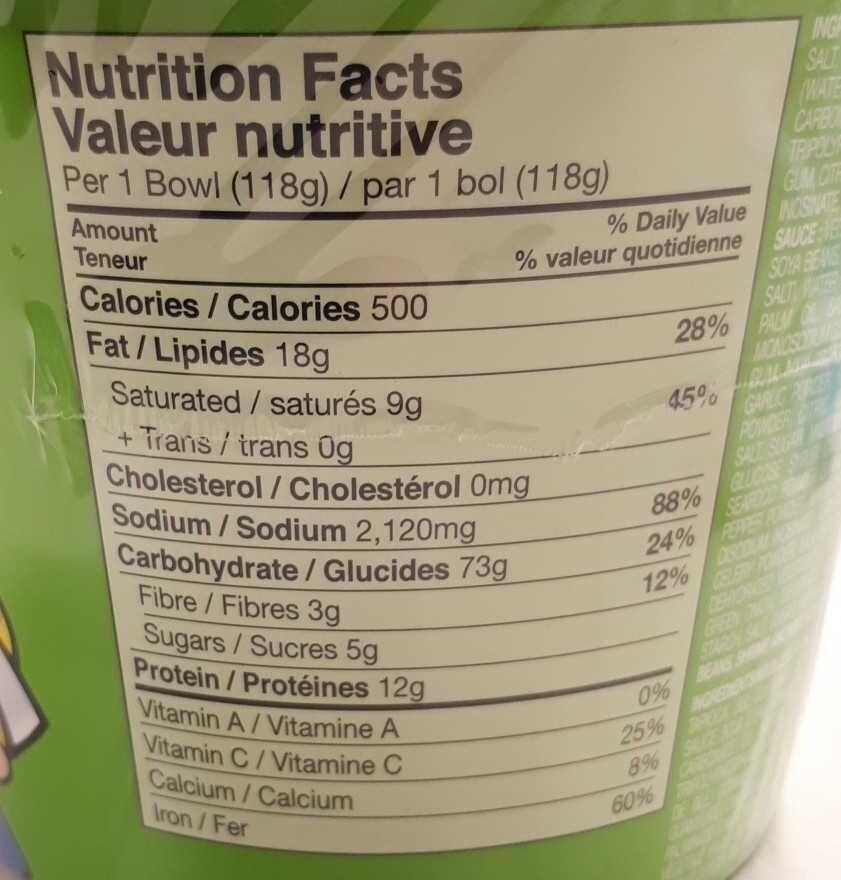 Instant Noodle with Soup Base (Artificial Chicken Flavour) - Informations nutritionnelles - en