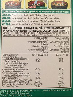 White Miso Soup - Informazioni nutrizionali - fr