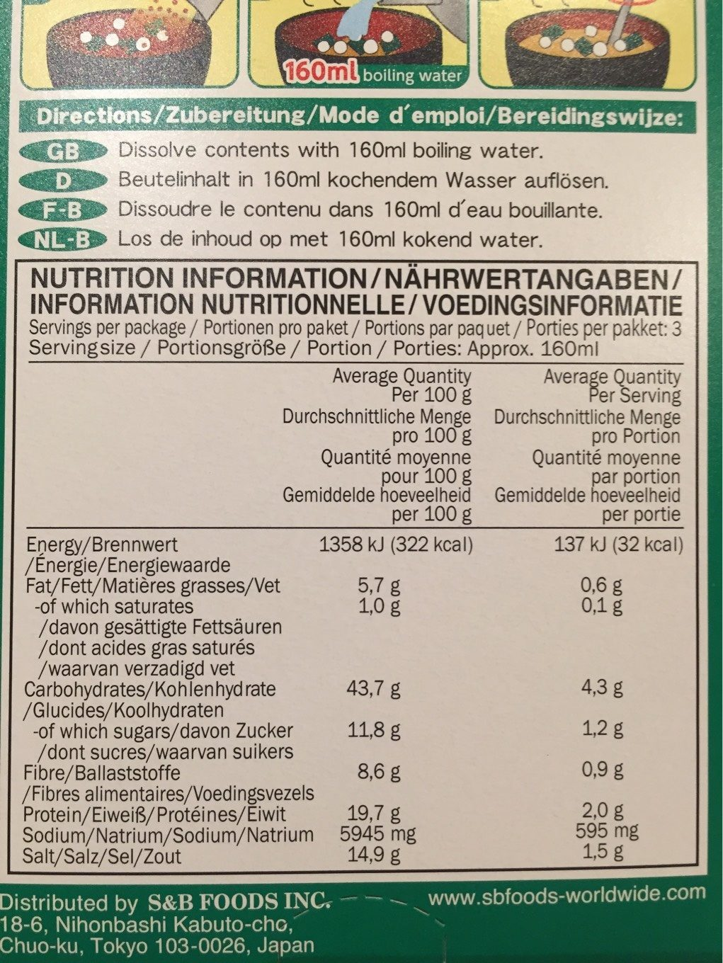 White Miso Soup - Nutrition facts - fr