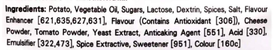 Pizza flavoured potato chips - Ingredients - en