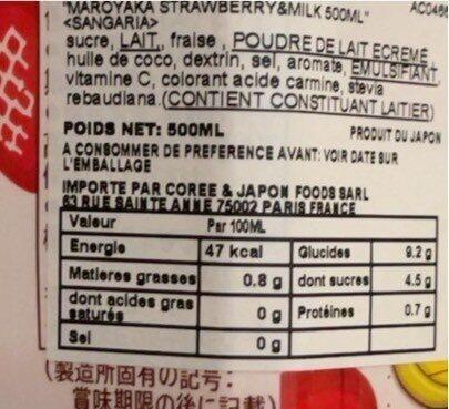 Lait fraise - Informations nutritionnelles - ja