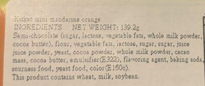Mini Mandarine Orange - Ingrédients - en