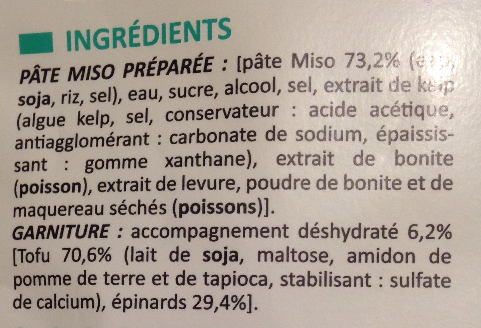 Soupe miso tofu - Ingrédients - fr