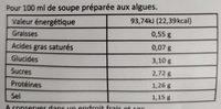 Soupe miso tofu Champignons - Informations nutritionnelles - fr