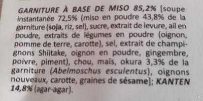 Soupe miso Kanten aux légumes - Ingrédients - fr