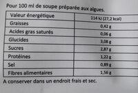 Soupe miso Kanten aux légumes - Informations nutritionnelles - fr