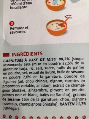 Soupe miso kanten sésame épicé - Ingrédients - fr