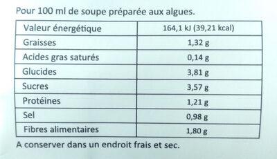 Soupe miso kanten sésame épicé - Informations nutritionnelles - fr