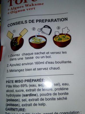 Soupe miso instantanée - Ingrediënten