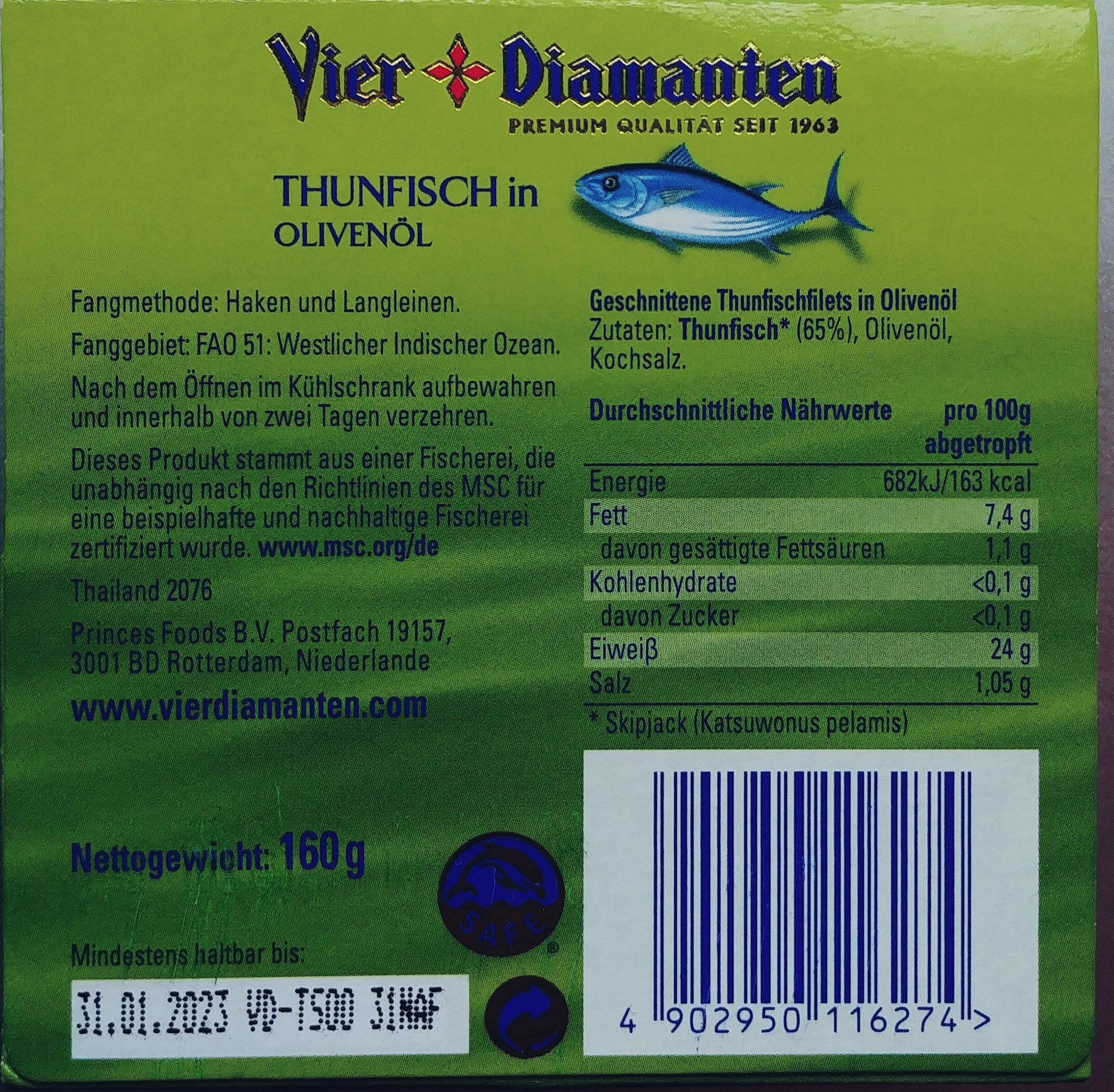 Thunfisch in Olivenöl - Zutaten - de
