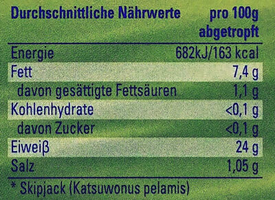 Thunfisch in Olivenöl - Informations nutritionnelles - de